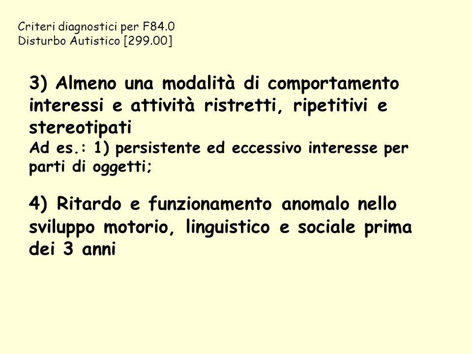 Criteri diagnostici per F84.0 Disturbo Autistico [299.00]